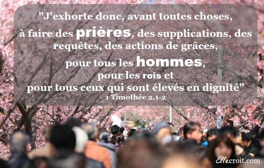 1 timothée 2.1-2 prière pour les hommes ellecroit.com