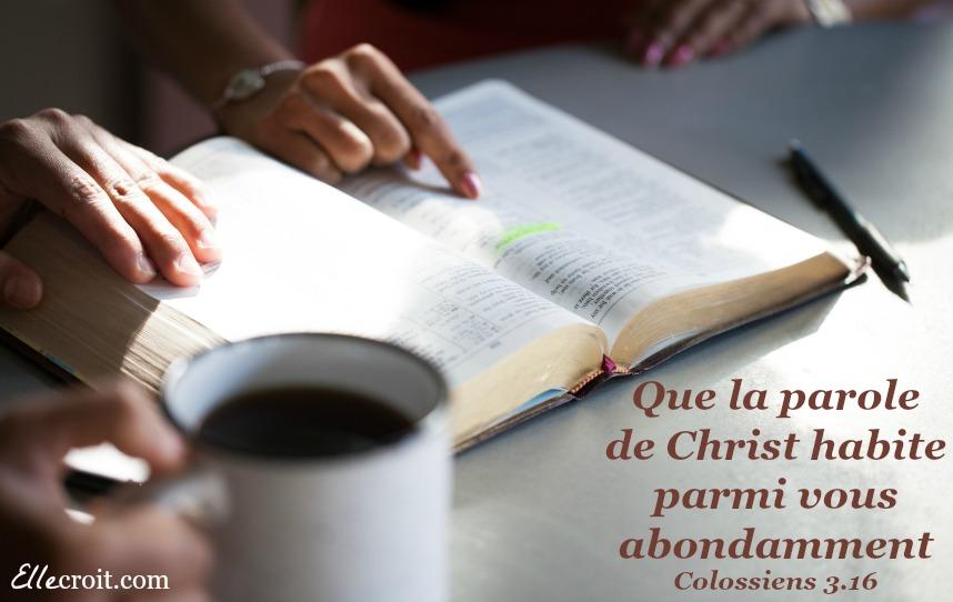 colossiens 3.16 Bible Parole ellecroit.com